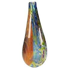 Christian Thirion Studio BIG Caned Wave Art Glass Vase