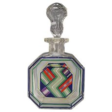 Art Deco Bohemian Czech Enamel Glass Decanter Bottle