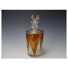 Bohemian Czech 1930s Art Deco Cut Crystal Decanter