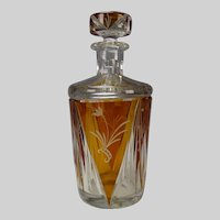 Bohemian Czech 1930s Art Deco Cut Crystal Decanter