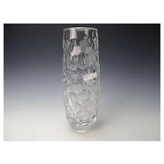Huge Bohemian Vintage Cut Glass Vase Modernist