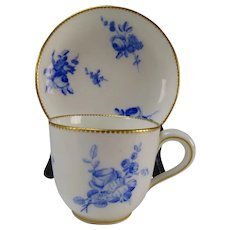 18c Sevres Hand Painted Porcelain Cup and Saucer