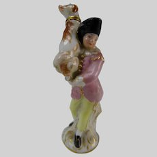 18/19c Antique Meissen Figural Man Carrying Dog Porcelain Perfume Flask