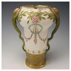 Antique Jugendstil RSTK Turn Teplitz Amphora Snakes Vase REDUCED~!