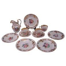 Antique Old Paris French Porcelain Set Plates Jug Cup/Saucer c1840 11pc Set
