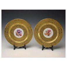 Art Nouveau Hutschenreuther German Porcelain AOG Super Gilt Gold Plates Set of 10