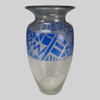 Fostoria Art Deco Stained and Cut Engraved Glass Vase