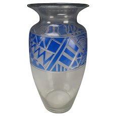 Great Art Deco Stained and Cut Engraved Glass Vase