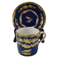 Antique Spode Copeland/Tiffany & Co Porcelain Blue Gilt Cup Saucer