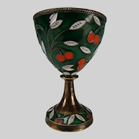 Vintage Russian Silver Enameled Cloisonne Egg Cup Cordial Stem 916