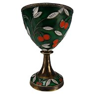 Vintage Russian Silver Enameled Cloisonne Egg Cup Cordial Stem 916