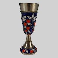 Vintage Russian Sterling Enamel Champleve Cloisonne Egg Cup Stem