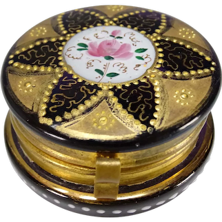 Rare Moser Amethyst Enameled and Gilt Glass Trinket/Patch Box