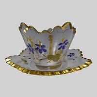 Antique Bohemian Ornate Gilt Cut Enameled Glass Cup Saucer