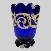 Antique Bohemian Cobalt Blue Hand Enameled Art Glass Vase