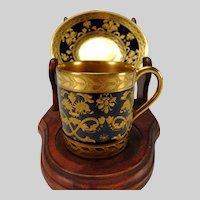 Antique Sevres Porcelain Cobalt Gilt Enamel Raised Dragon Hand Painted Cup and Saucer
