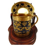 Antique Sevres Cobalt Gilt Enamel Raised Dragon and Fine Gold Hand Painted Cup and Saucer