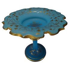 Great 19c Bohemian or French Blue Opaline and Gilt Tazza Ring Stand