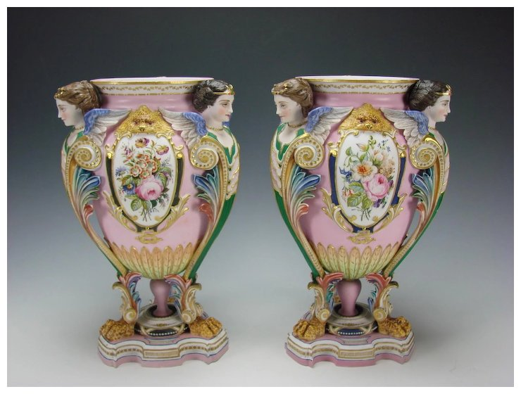 Fabulous Jean Gille French Bisque Porcelain Ornate Victorian Urn