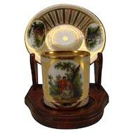 Antique Dresden Klemm Signed Porcelain China Elegant Hand Painted Demi Espresso Cup Saucer