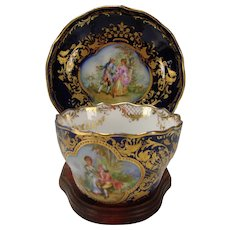 Antique Ambrosius Lamm Dresden Hand Decorated Watteau Style Porcelain Cup/Saucer