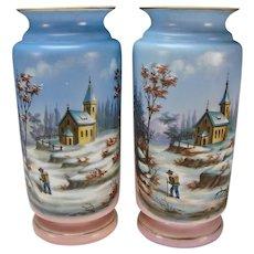 Great Antique Bohemian Pastel Hand Painted Landscape Portrait Vases c1860 HUGE