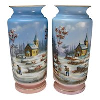 Great Antique Bohemian Pastel Hand Painted Landscape Portrait Vases c1860 HUGE