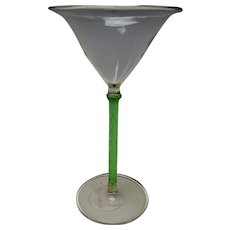 Art Deco Bohemian Austrian Lampwork Glass Martini Stem