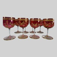 Antique Elegant French Baccarat Gilt Cranberry Wine Glass Stems Set