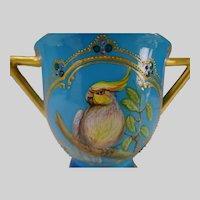 19c Minton China Jeweled Porcelain Hand Painted Parrot Cockatiel Vase