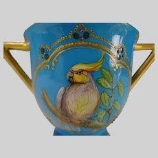 19c Minton China Jeweled Porcelain Hand Painted Enamel Parrot Cockatiel