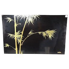 Vintage Vietnamese Painted Laquered Wood Plaque Panel Signed