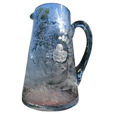 Antique Thomas Webb Carved Engraved Art Glass Victorian Pitcher Jug c1880