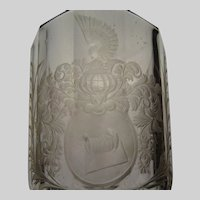 c1680 Silesian Bohemian Hand Cut Engraved Heraldry Glass Armorial Vase