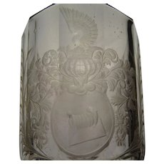 c1680 Silesian Bohemian Hand Cut Engraved Heraldry Glass Armorial Vase