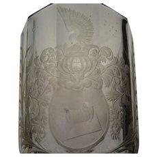 c1690 Silesian Bohemian Hand Cut Engraved Heraldry Glass Armorial Vase