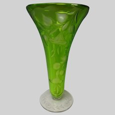 Antique American Sinclaire Green Cut to Clear Glass Vase