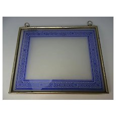 Antique Bohemian Cobalt Blue Cameo Cut Stained Glass Picture Photo Frame