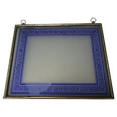 Antique Bohemian Cobalt Blue Cameo Cut Hanging Stained Glass Frame