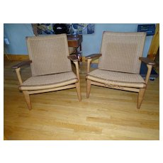 Fine Modern Hans Wegner Rope Woven Chair Pair ch25 for Carl Hansen