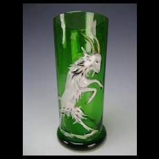 Antique Bohemian Czech Enamel Blown Out Figural Dancing Goat Glass Tumbler
