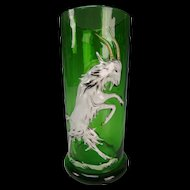 Antique Bohemian Czech Enamel Blown Out Figural Dancing Goat Glass Tumbler