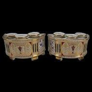 Antique French Empire Paris Porcelain Bough Pots Planter Vase Pair c1835