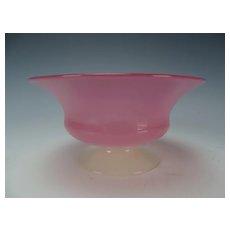 Antique Steuben Glass Rosaline and Alabaster Footed Bowl