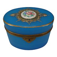 Antique French Blue Opaline Palais Royal Glass Box Casket