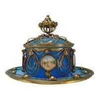Antique Palais Royal Baccarat Ormolu Covered Blue Opaline Jar Dish Bowl 19c