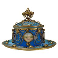 Antique Palais Royal Baccarat Ormolu Covered Blue Opaline Jar Dish Bowl 19c