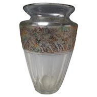 Antique Moser Signed Glass Vase Warrior Frieze Relief Unusual