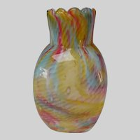 Antique Thomas Webb Opaline Snakeskin Cased Glass Vase