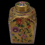 Antique French St Cloud Soft Paste Porcelain Tea Caddy Lidded Capped Jar